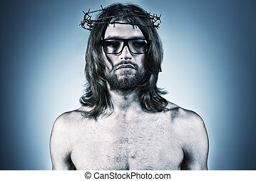 strange - Portrait of Jesus Christ. Religion.