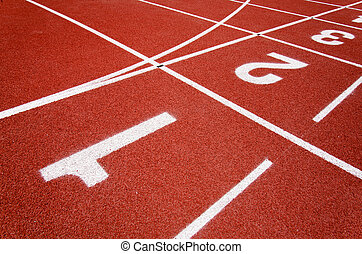 red race for running - red race track in an arena,High...