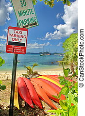 St. John Island Parking Signs - On the sandy Caribbean...