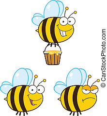 Cute Bee . Set Collection 5 - Cute Bee Cartoon Mascot...
