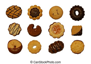 Cookies - 12 different cookies isolated