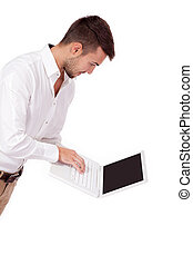 young adult business man and notebook isolated