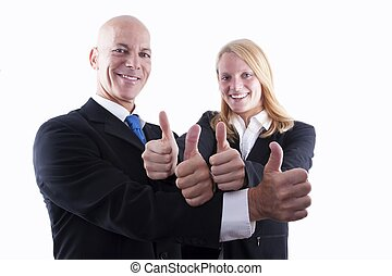 Business Team Showing Thumbs Up - A Business Team of Two...