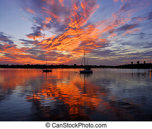 Morning Fire - Sunrise over Matanzas Bay in the city of St....