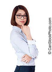 young successful attractive asian businesswoman isolated