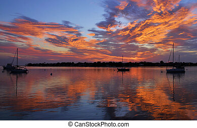 Waiting on Wind - Sunrise over Matanzas Bay in the city of...
