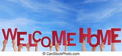 Manos, tenencia, bienvenida, hogar, cielo