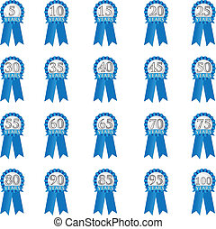 Blue Anniversary Ribbon - Blue Ribbon for anniversary in 5...
