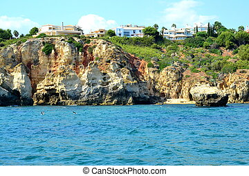 Cliffs Baleeira, Albufeira in the Algarve Portugal