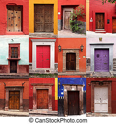 set of colorful, mexican front doors