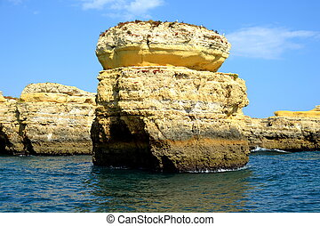 Cliffs yellow Albufeira in the Algarve Portugal