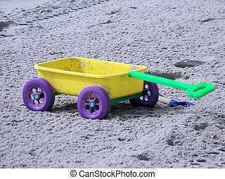 Kids Colorful Wagon Beach Toy - A kids colorful plastic...