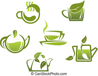 Green tea symbols and icons for fast food or cafe design