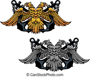 Double head eagle with vintage anchor for heraldry or tattoo...