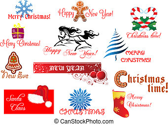 New Year and Chrismas symbols set with holiday scripts