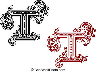 Capital letter T in retro style