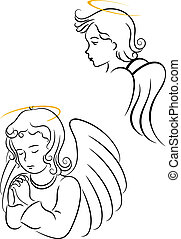 Winged angels for religious and christianity symbols design