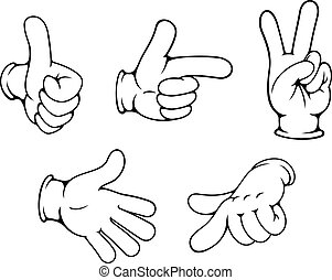 Set of positive hands gestures in cartoon style
