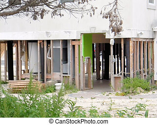 Hurricane House Damage - The lower level of a house that...