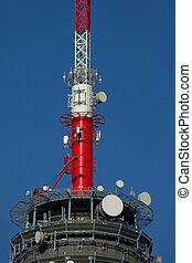 Transmitter tower detail against blue sky