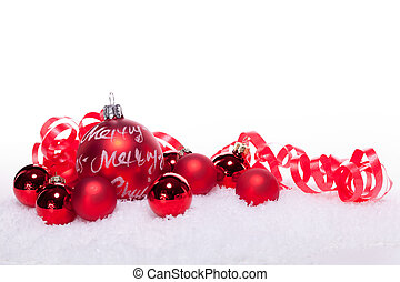 christmas decoration festive red bauble in snow isolated...