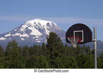Washington State School Playground Basketball Goal in the...