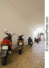 Motorbike line-up - A line-up of motorcycles along a...