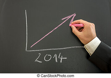 Growing business graph - Closeup of businessman drawing...