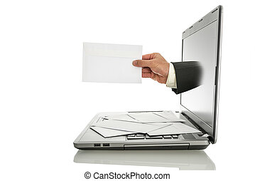 Email - Male hand coming out of laptop monitor offering you...