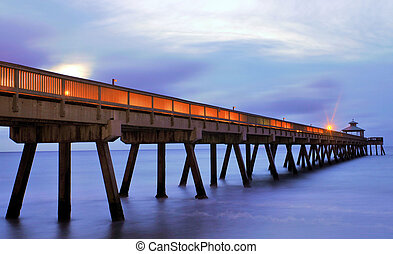 Blue Hour - The pier at Hillsboro Beach, Florida