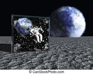 Box on lunar like surface contains astronaut and space