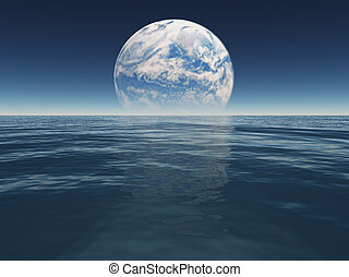 Ocean or sea of alien world or earth water with terraformed...