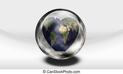 Earth Heart in glass container