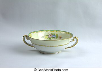 Antique bowl - And antique china bowl isolated on a white...