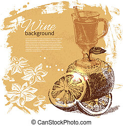 Mulled vintage background. Hand drawn illustration