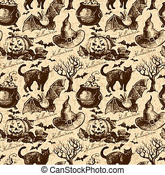 Halloween seamless pattern Hand drawn illustration