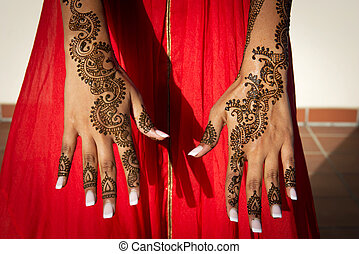 Henna Tattoos - Image of Henna Tattoos on an Indian brides...