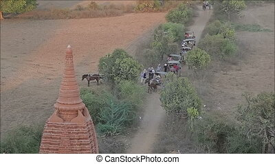 Sunset in Bagan - Tourists taking cart ride to watch sunset...