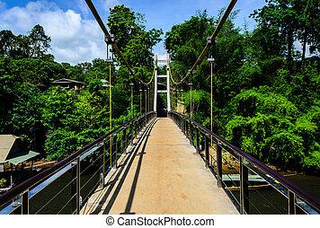 Long Way of Suspension Bridge