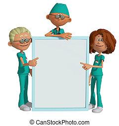 hospitalar, equipe, segurando, painél...