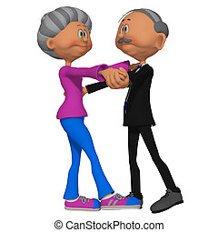 Old woman and man dancing