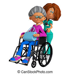 elderly woman sitting in the wheelchair and nurse 3d