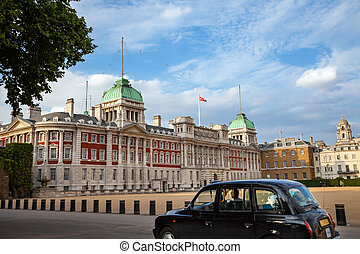 London, historic building, classic black cab driving,
