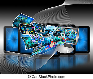 computer Technology - Abstract composition which shows a...