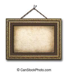 vendimia, imagen, marco, blanco, aislado, Plano de fondo