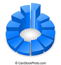 Circular diagram. - Blue circular diagram isolated on white...