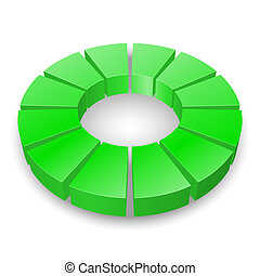 Circular diagram. - Green circular diagram isolated on white...