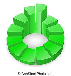 Circular diagram. - Green circular diagram with columns...