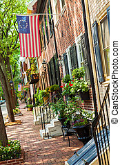 Philadelphia and red Brick Buildings - Beautiful street in...