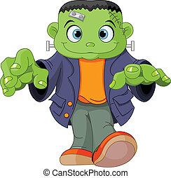Frankenstein kid - Halloween kid wearing Frankenstein...